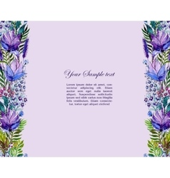 Floral border with wildflowers vector