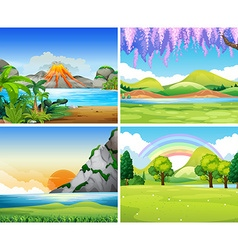 Four nature scenes with lake and park vector