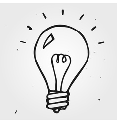 Light bulb hand drawn doodle vector