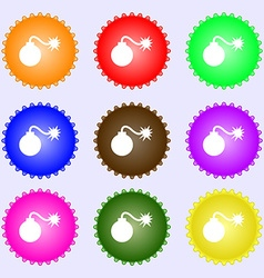 Bomb icon sign a set of nine different colored vector