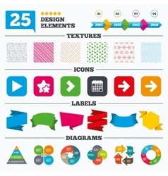Arrow icons next navigation signs symbols vector