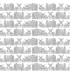 amsterdam houses windmill and city pattern vector image vector image