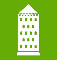 Ancient building icon green vector