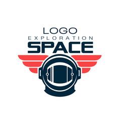 astronaut s protective helmet logo space vector image