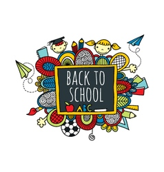 Back to school blackboard hand drawn doodle bright vector