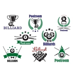 Billiard game or poolroom icons and symbols vector
