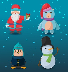 Christmas Character Cartoon Design Set vector image