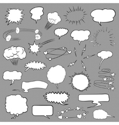Comic bubbles and elements set vector image