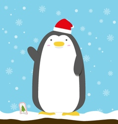 cute big fat penguin wear christmas hat standing vector image