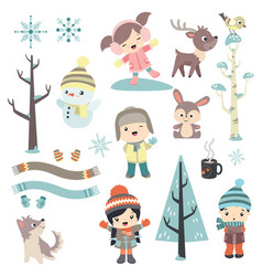 cute children in winter time vector image
