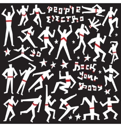 dancing people - doodles set vector image vector image