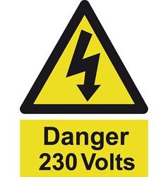 Danger 230 volts safety sign vector