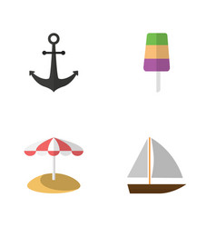 Flat beach set of yacht sundae ship hook and vector