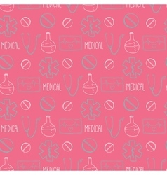 Hand drawn medical seamless pattern pharmacy vector