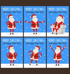 Merry christmas and happy new year santa congrats vector
