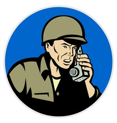 Military soldier on radio vector