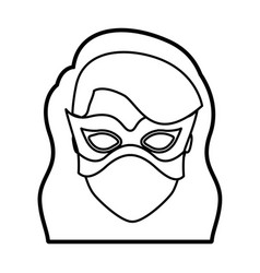 Monochrome thick contour head of faceless girl vector