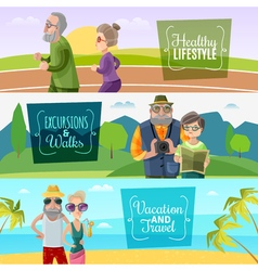 Old couple horizontal banners vector