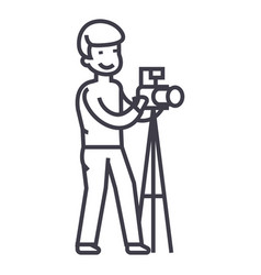 photographer with camera and tripodphoto studio vector image vector image