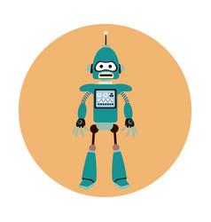 robot machine engineer circle icon vector image