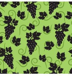 Seamless green background with leaves and grapes vector