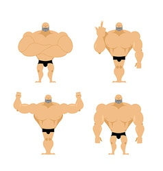Set of strong men Healthy guys with big muscles vector image