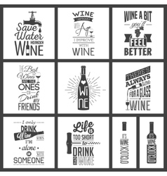 Set of vintage wine typographic quotes vector image