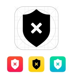 Shield with cross mark icon vector image vector image