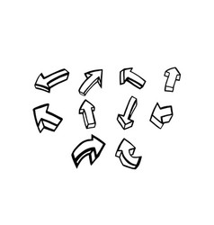 thin line arrow icon set vector image