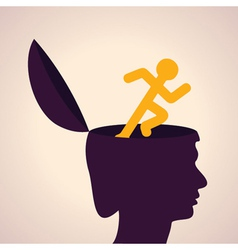 thinking concept-Human head with running man vector image vector image