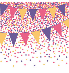 Ultra violet bunting background with confetti vector