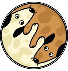 Yinyang dogs vector
