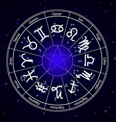 Zodiac star signs in circle on dark background vector