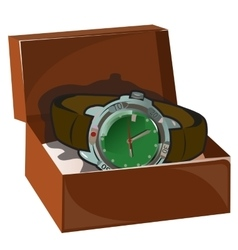 Mens classic retro watch with leather strap in box vector