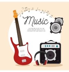 music electric guitar speaker headphone note vector image