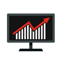 statistics on monitor icon flat style vector image