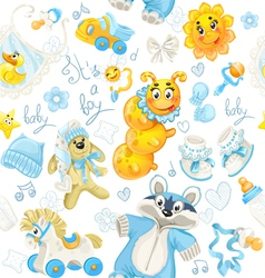 Seamless pattern of blue clothing toy and stuff vector