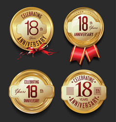 Anniversary retro golden labels collection 18 vector