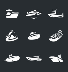 set of water transport icons vector image