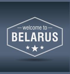 Welcome to belarus hexagonal white vintage label vector