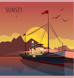 retro cruise ship at the pier at sunset vector image