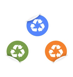 3 color recycling Stickers vector image