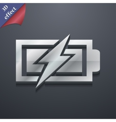 Battery charging icon symbol 3d style trendy vector