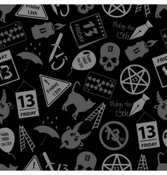 Friday the 13 bad luck day icons seamless dark vector