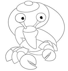 Cute cartoon hermit crab vector