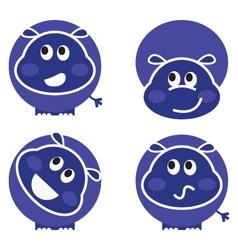 cute wild hippo set vector image