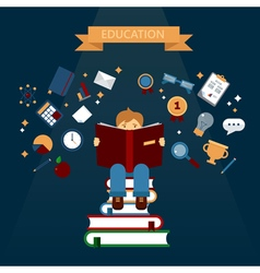 Concept of education with reading books boy vector