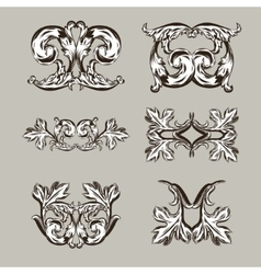 Antique vintage floral ornament on white vector