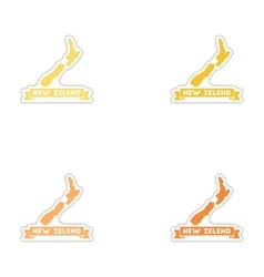 Set of paper stickers on white background new vector
