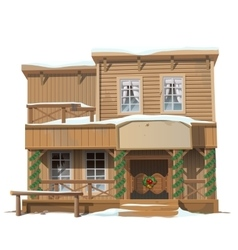 Wooden classic saloon decorated for Christmas vector image